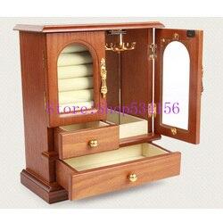 الحقيقي الطبيعي الصلبة خشبية مجوهرات مربع المنظم أقراط سوار النعش مربع مجوهرات عرض المنظم هدية مربع
