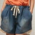 2016 Verão Nova Calça Jeans de Cintura Alta Shorts Mulheres Rendas Patchwork Shorts Jeans Cintura Elástica Plus Size Solto Calções DK017