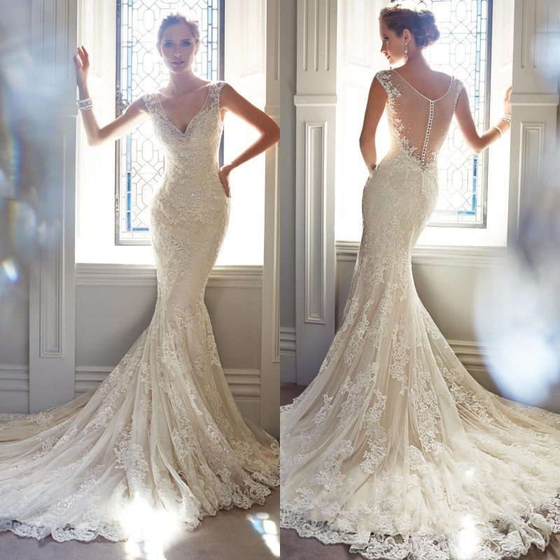 2017 Charming Mermaid Wedding Dress V Neck Floor Length Chapel Train Sheer Back Lace Bridal Gown Dream Fn00213 In Dresses From Weddings