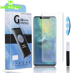 Wukong pełna pokrywa UV klej szkło hartowane do Huawei Mate 20 Pro zginania krawędzi pokrywy UV płynny preparat chroniący ekran dla Huawei P30 pro w Etui do ekranu telefonu od Telefony komórkowe i telekomunikacja na