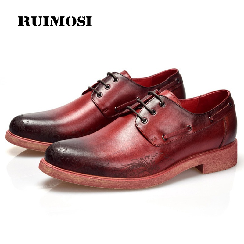 RUIMOSI Round Toe Derby Formal Man Dress Shoes Male Genuine Leather Designer Oxfords Luxury Brand Men's Handmade Footwear FK75