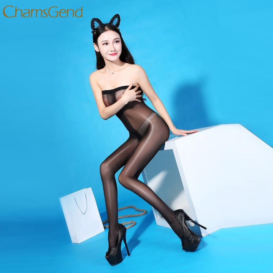 Buy Elegant female sexy oil Shiny pantyhose Open Crotch Bodystockings Perspective Underwear Costume Pajama Feb 22
