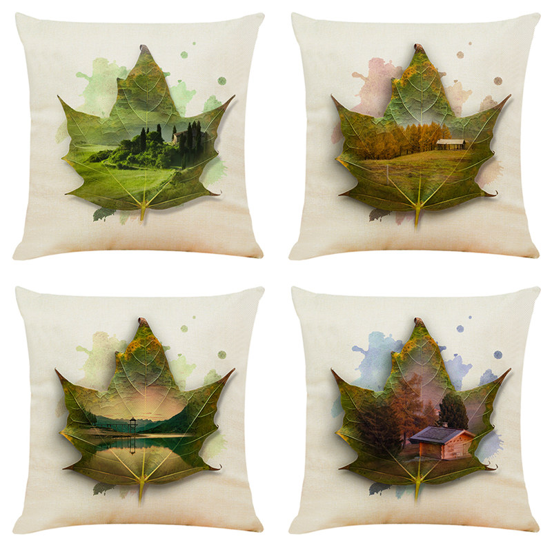 View in Maple leaves creative printed cushion cover Decorative home sofa seat car chair for Kids gift Decor bedroom pillowcase