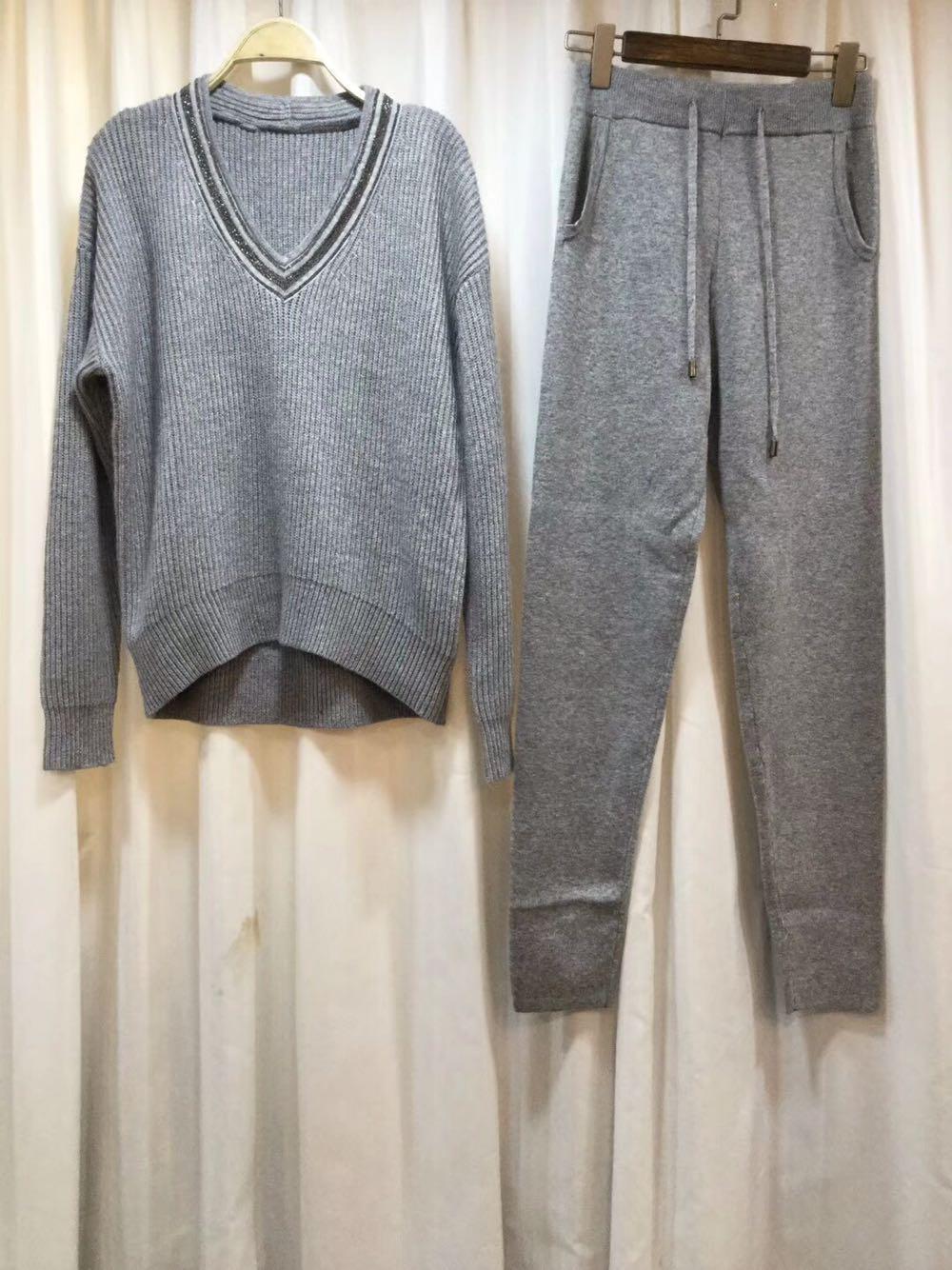 Cachemire Pour Knit Limitée Le Femmes Dans gris Manches Laine En Lanterne Temps 2 Casual pièce Deux cou Nouveau Pièce V 2018 Blanc De Tenues D'hiver Costume Yfgqngx