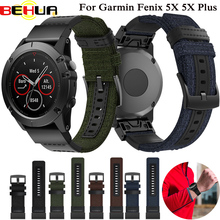 цена на 26mm Quick release Band Woven Nylon Genuine Leather Wrist Strap For Garmin Fenix 3 Fenix 3 HR Fenix 5 5X Wristband Watch strap