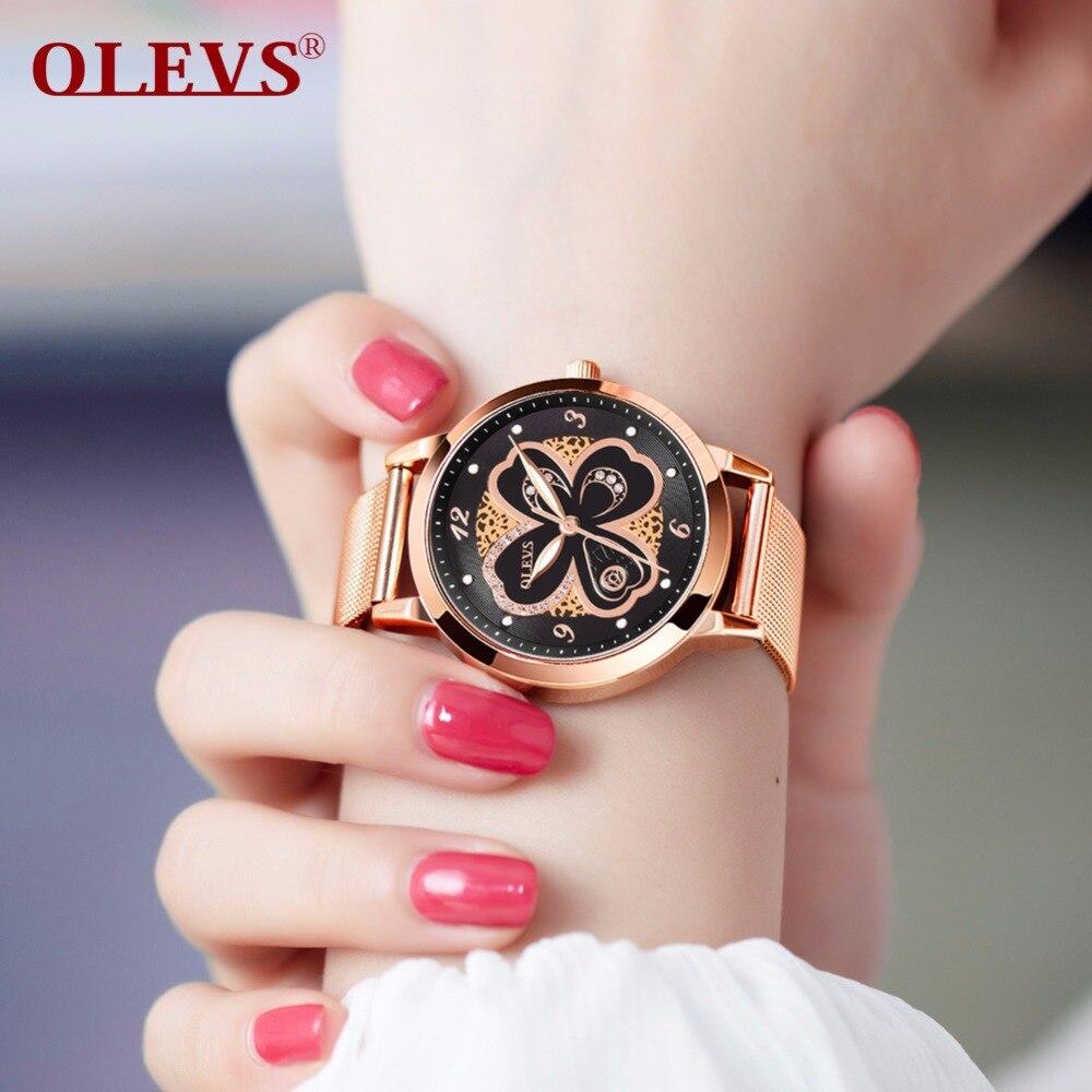 OLEVS Fashion Rhinestone Watch Women Quartz Watches reloj mujer Rose Gold Stainless Steel Mesh Band Waterproof Ladies Clock saat