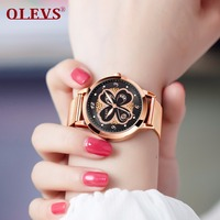 OLEVS Fashion Rhinestone Watch Women Quartz Watches reloj mujer Rose Gold Stainless Steel Mesh Band Waterproof Ladies Clock saat