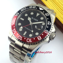 цена New 43mm Bliger Black dial SS Case Luminous hands Date WIndow Sapphire Glass GMT Automatic Movement Men's Mechanical Wristwatch онлайн в 2017 году