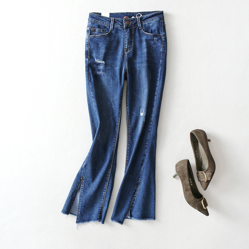 Hot-sale 2018 Spring New Irregular Thin Large Long Split Hair Flash Rivets Trumpet Jeans Female Pants Temperament Women Clothing