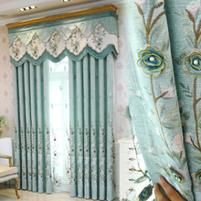 European luxury light blue Linen embroidered curtains for living room upscale hotel bedroom villa window decoration