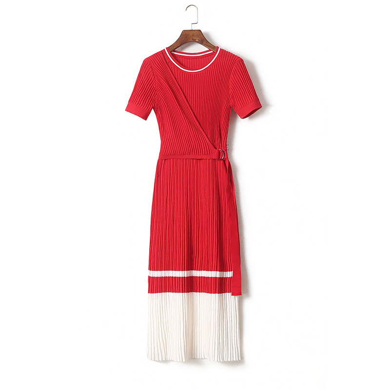 Women elegant fashion knit sweater dress short sleeve color block pleated dresses new 2018 spring autumn red white
