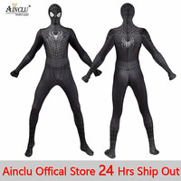 New Black Spiderman Costume 3D Printed Spider Man Suit Spider man Costumes Adults Children Kids Spider Man Cosplay Clothing CH
