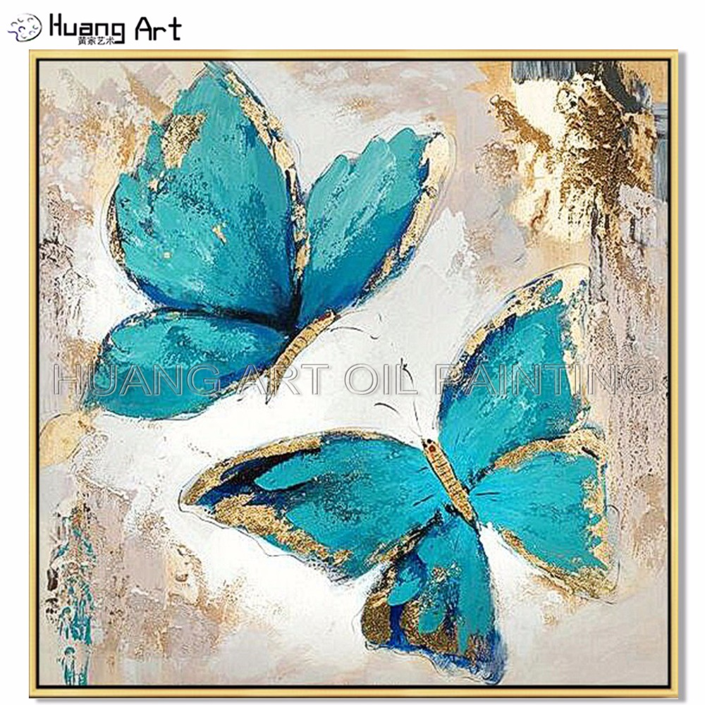 Newest Hand-painted Blue and Gold Winged Butterfly Oil Painting on Canvas for Decor Modern Abstract Knife Animals Wall Painting