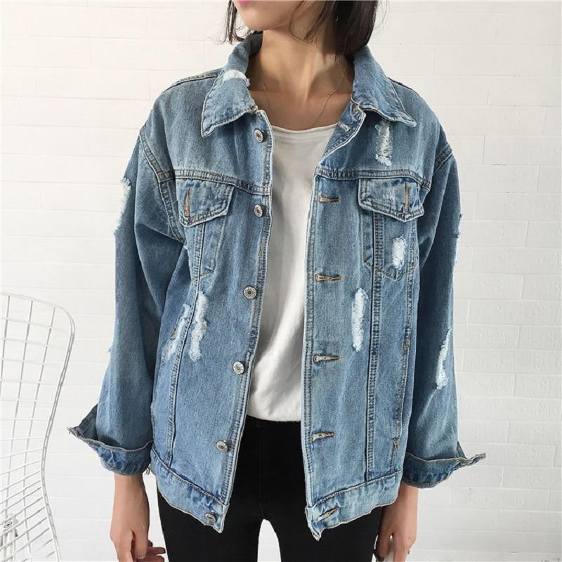 jeans jacket Women Basic Coat Denim Jacket Autumn loose fit casual Vintage style chaqueta mujer Denim Jacket For Women