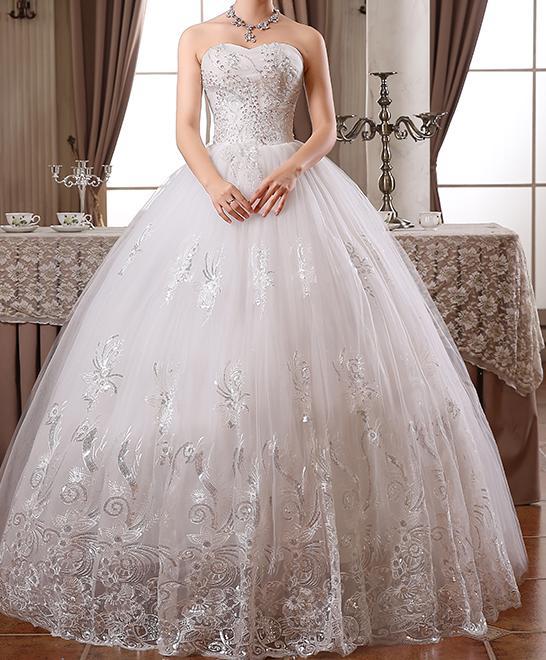 Свадебные платья новая мода принцесса стиль роскошная кружевная вышивка длина до пола алмаз винтажное свадебное платье - Цвет: Белый