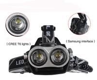 10000Lumnes LED Headlight 2 CREE XML T6 Zoom Headlamp High Power Head Lamp USB Rechargeable Lantern