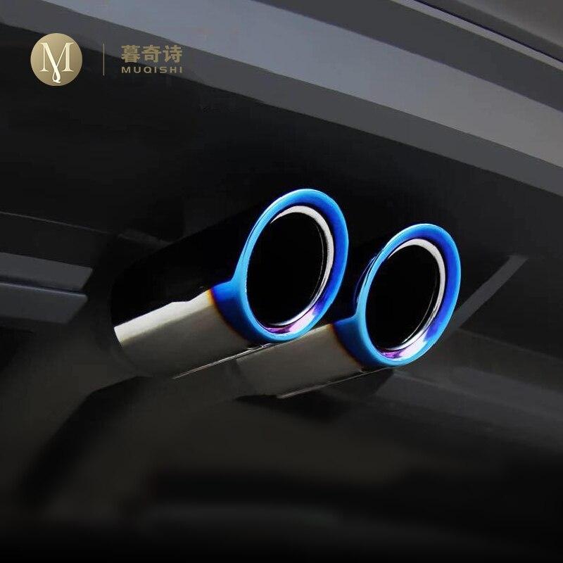 Para volkswagen tiguan 2 2016 2017 2018 estilo do carro exclusivo s'aço ponta silenciador escape tubo de cauda guarnição acessórios automóveis