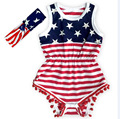 New Tassels USA Flag Design Kids Rompers with Bow Headbands Cotton Summer one-pieces Rompers Wholesale
