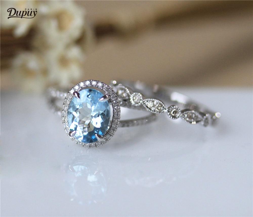 DUPUY 7*9mm Oval Cut Aquamarine Engagement Ring Set Half Eternity Diamonds Wedding Ring Set Solid 14K White Gold 2pcs Bridal Set