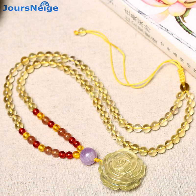 Yellow Natural Crystal Necklace Hand Carved Flower Pendant Beads Sweater Chain Necklace Lucky for Women Help Wealth Jewelry cute women s beads flower bee pendant necklace