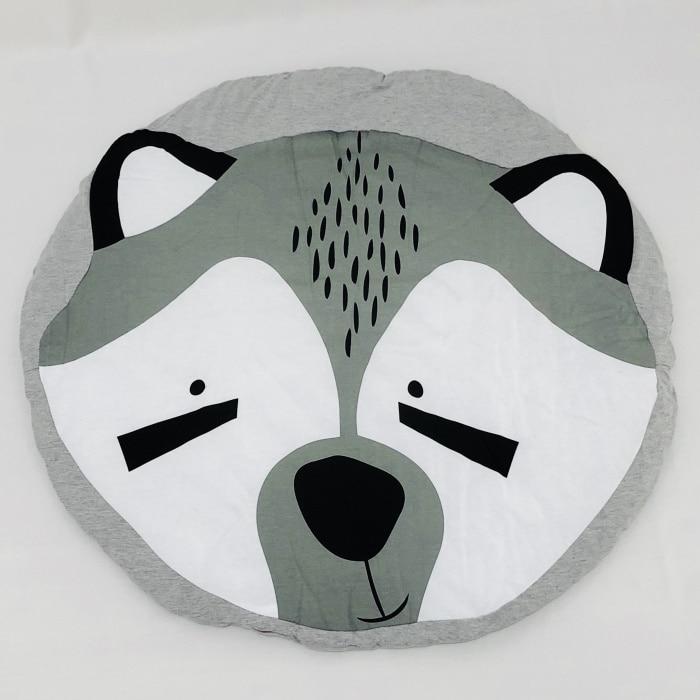 95 см детская игра коврики круглый коврик, мат хлопок Лебедь Ползания одеяло пол ковер для детской комнаты украшения INS подарки для малышей - Цвет: Fox 95cm