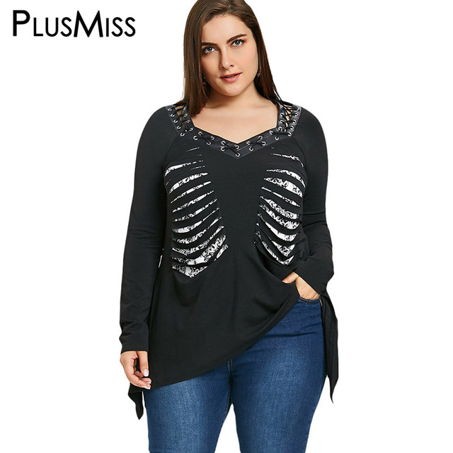 aaa8ccfd4c39a PlusMiss Plus Size 5XL Vintage Lace Up Shredding Loose Top Punk Rock Long  Sleeve Cut Out Blouse Shirt Women Clothes Large Size