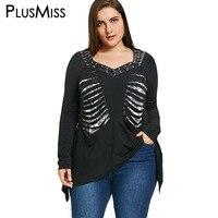 PlusMiss Plus Size 5XL Vintage Lace Up Shredding Loose Top Punk Rock Long Sleeve Cut Out