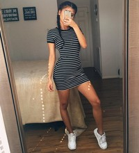 Summer New Round Neck Striped Short-sleeved Dress