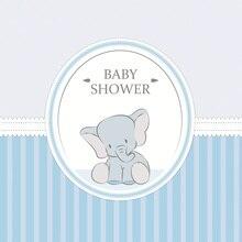 Laeacco Happy Birthday Cartoon Stripes Elephant Baby Shower Portrait Photographic Background Photography Photo Backdrops Studio