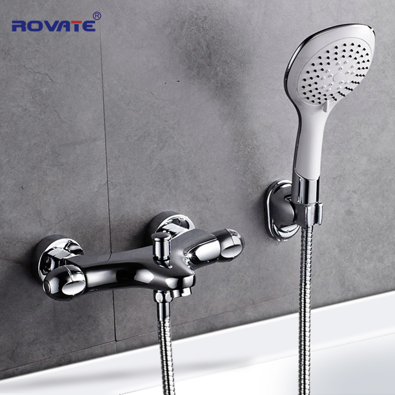 ROVATE Bathtub Faucets Bathroom Thermostatic Mixer Tap with Hand Shower Bath Faucets Shower Set Brass Chrome ledeme chrome plated bathroom bathtub faucets mixer shower set tap with hand brass bathroom bathtub faucet shower head set l2049