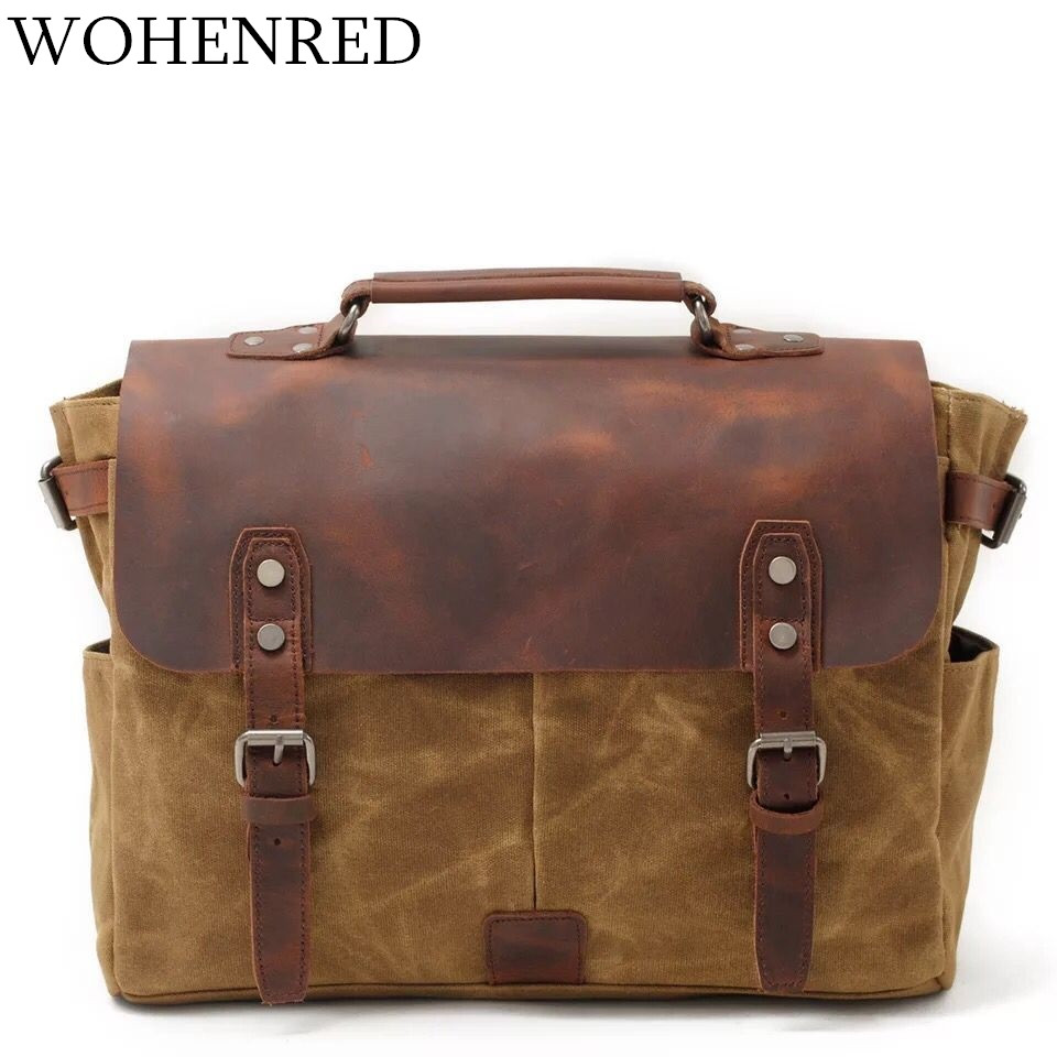 Vintage Canvas Leather Laptop Bag Waterproof Men Messenger Bags Casual Shoulder Crossbody Bags Male Business Briefcase Handbags canvas leather crossbody bag men briefcase military army vintage messenger bags shoulder bag casual travel bags