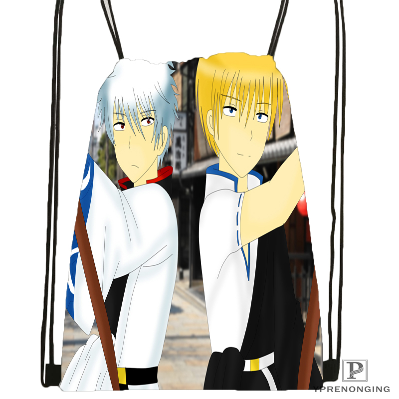 Custom Gintama Anime Drawstring Backpack Bag Cute Daypack Kids Satchel (Black Back) 31x40cm#180531-01-48