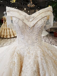 Image 4 - LS54110 2020 Luxury wedding dress sweetheart  ball gown lace up  ivory and champagne bridal wedding gowns long train as photos