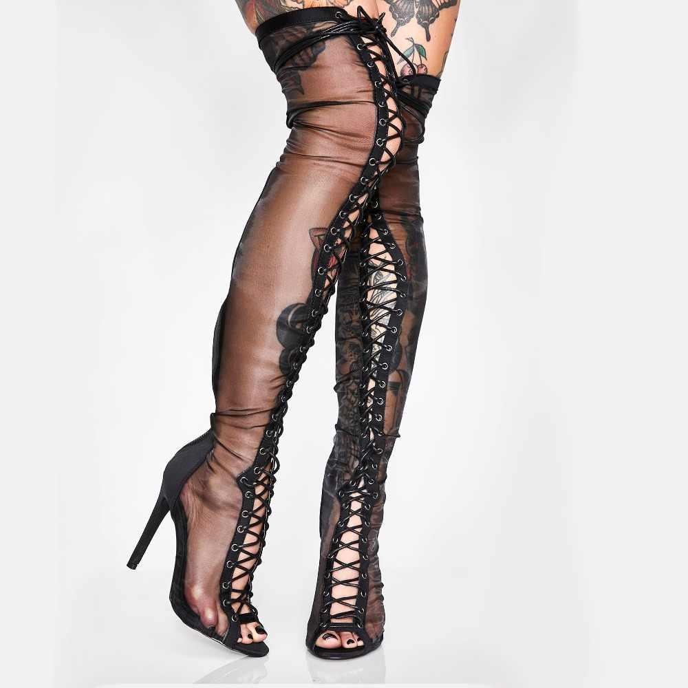 Arden Furtado mùa hè 2019 cột dây Peep Toe lưới Giày trên đầu gối Giày cao gót Size Lớn gợi cảm Balo đeo chéo nữ gắn giày xăng đan