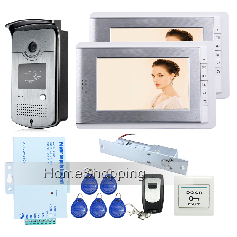 FREE SHIPPING Apartment 7 LCD Color 2 Screens Video Intercom Door Phone + HD RFID Reader Outdoor Camera Electric Drop Bolt Lock free shipping new 10 lcd color screen video door phone intercom kit outdoor rfid reader doorbell camera electric door lock