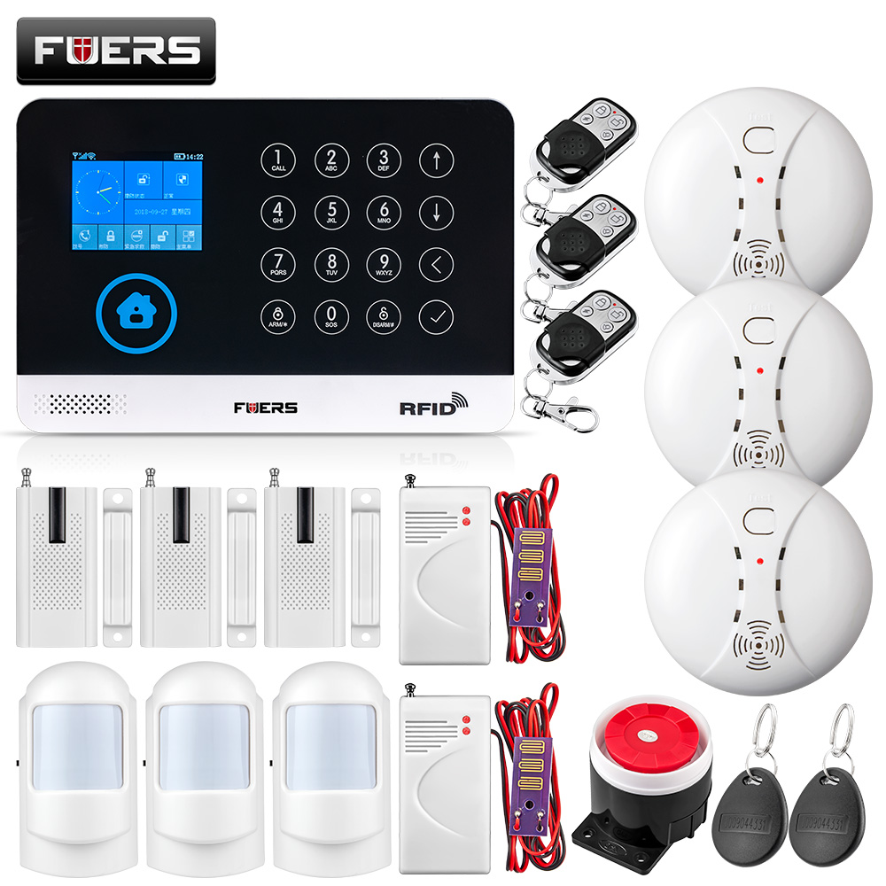 FUERS New Home Burglar Security Alarm WIFI GSM Alarm System Wireless RFID Motion PIR Door Smoke Water leakage Sensor IP Camera 433 mhz wireless camera security system mini ip camera wifi gsm alarm systems for home with door sensor infrared pir motion