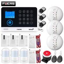 FUERS جديد المنزل جهاز إنذار ضد السرقة نظام إنذار واي فاي gsm اللاسلكية RFID الحركة PIR الباب الدخان تسرب المياه الاستشعار IP كاميرا