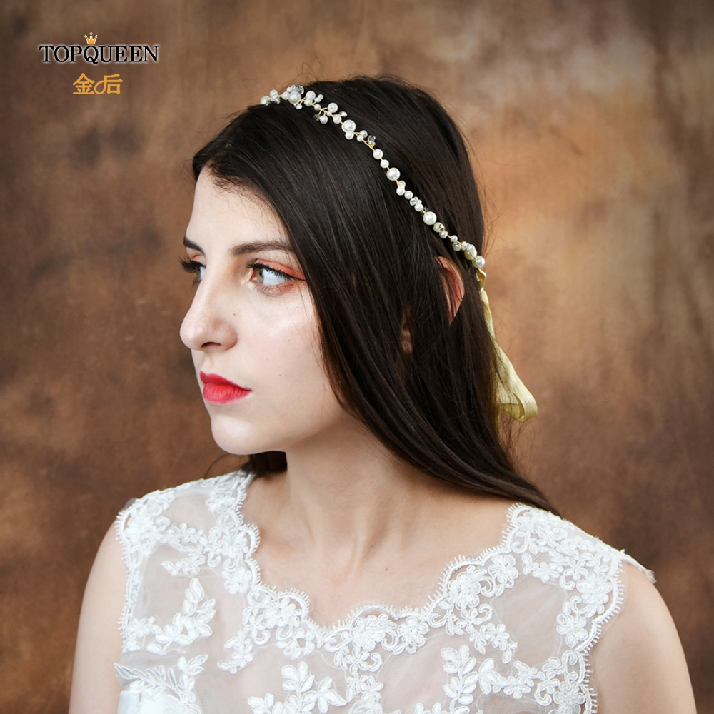 TOPQUEEN Handmade Pearl Hair Tiara Crystal Bridal Headband Hair Jewelry Bridal Hair Pieces Wedding Headpieces For Women HP03-G
