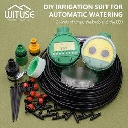 2 escolhas 5 m-30 m diy micro sistema de irrigação por gotejamento planta auto automático temporizador de rega mangueira do jardim kits com dripper ajustável