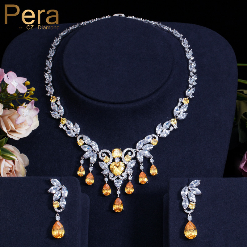 Pera Luxury African Women Wedding Jewelry Gift Yellow Cubic Zirconia Pave Big Tessal Drop Pendant Necklace And Earrings Set J245 pera newest big vintage hollow out design yellow cubic zircon round drop pendant necklace and earrings set for luxury women j199