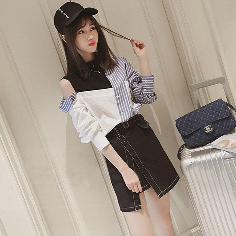 2019 printemps nouvelle petite chemise irrégulière de tempérament de costume de mode des femmes avec la mode de jupe deux pièces