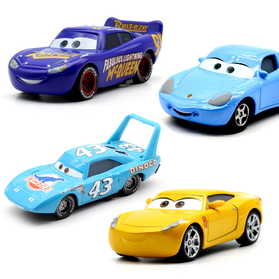 18 Style Disney Pixar Cars2 3 New 1:55 Roles  Lighting McQueen Miss Fritter Cruz Ramirez Metal Car Toys Child Birthdays Gift