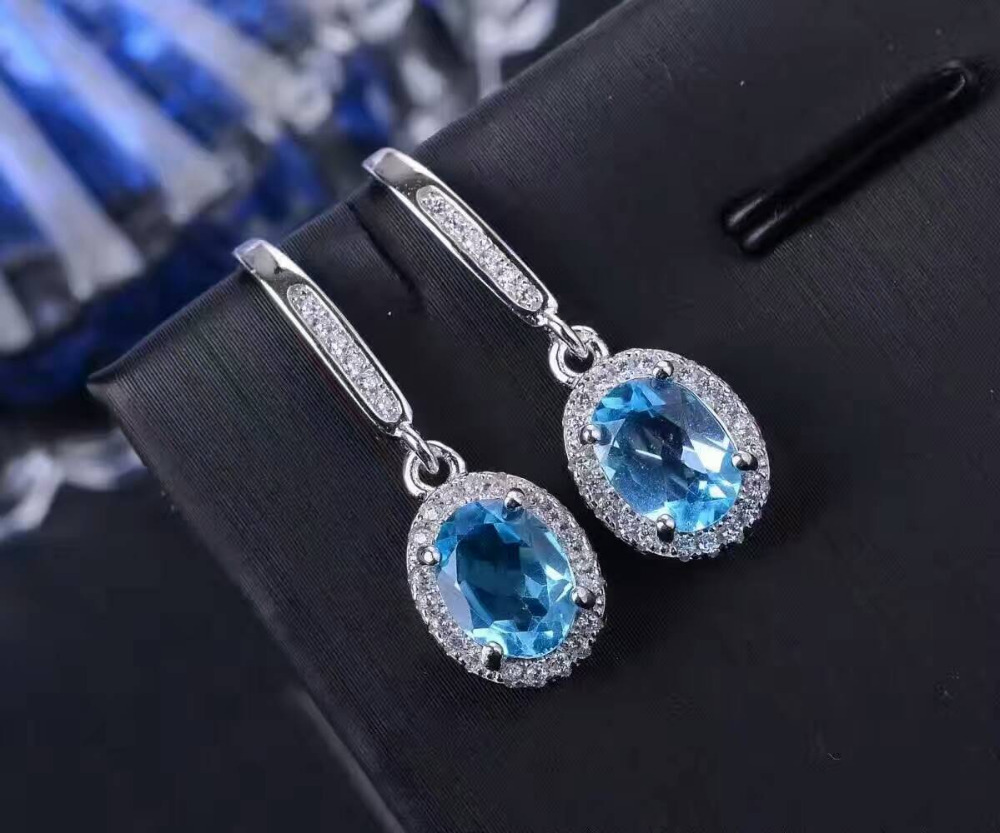 Natural blue topaz gem drop earrings 925 silver natural gemstone earrings Stylish elegant round women party Earrings jewelry artificial gem rhinestone drop earrings
