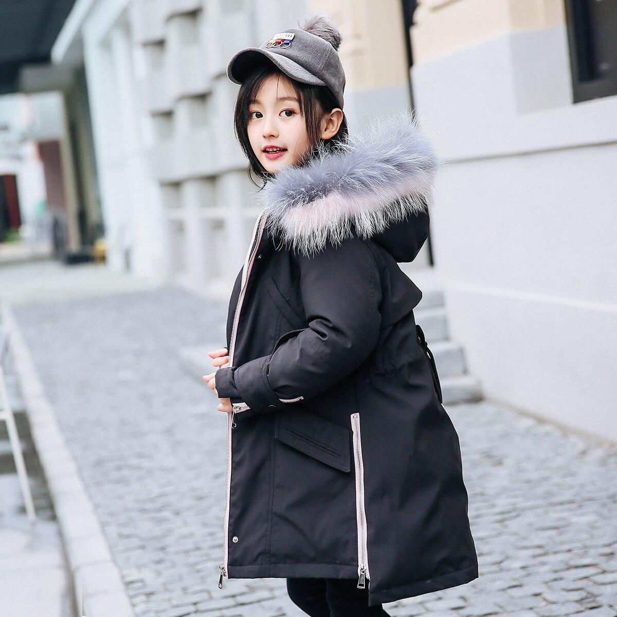 2019 Teenage Children's Girl Down Jacket Fashion Girl's Long Winter Warm Outdoor Thick Jacket Girl  Windproof Coat Snowsuits