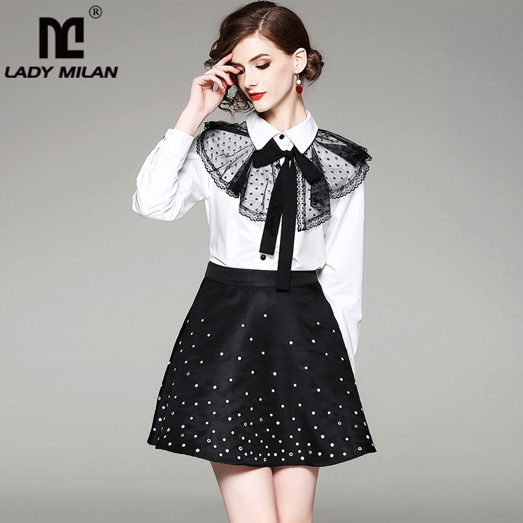 2018 Womens Turn Down Collar Long Sleeves Bow Detailing Shirts with A Line Embroidery Dots Skirts Fashion Two Piece Dresses
