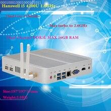 Мини ПК Intel Hanswell I5 4200U, Intel HD Graphics 4400, без кулера, I5, Barebone, Windows 7, win8, win10, 4K, VGA, HDMI, Htpc