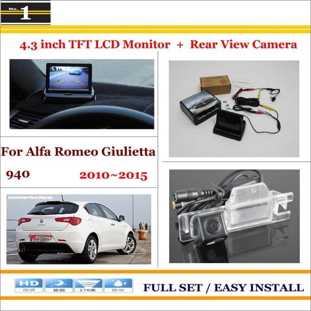 """Carro Estacionamento Camera + 4.3 """"LCD Monitor de PAL NTSC = 2 em 1 Estacionamento Retrovisor Sistema-Para Alfa Romeo Giulietta 940 2010 ~ 2015"""