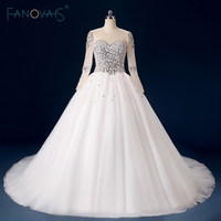 Real Photo Puffy Ball Gown Wedding Dress With Sheer Long Sleeves Vestidos De Noiva Bridal Gowns