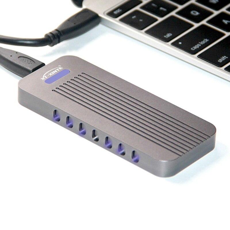 Boîtier en alliage d'aluminium NVMe PCIE USB3.1 HDD boîtier M.2 à USB disque dur SSD type de boîtier C 3.1 M connecteur de clé boîtier HDD pour bureau - 6