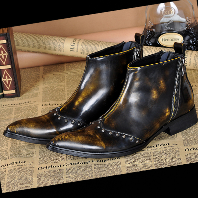 Italian Fashion Men Boots Genuine Leather Men Dress Shoes Italian Designer Business Wedding Ankle Boots Punk Rivet Cowboy Boots